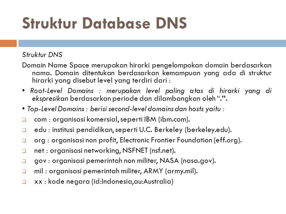 Struktur Database DNS Struktur DNS Domain Name Space merupakan hirarki pengelompokan domain berdasarkan nama. Domain ditentukan berdasarkan kemampuan
