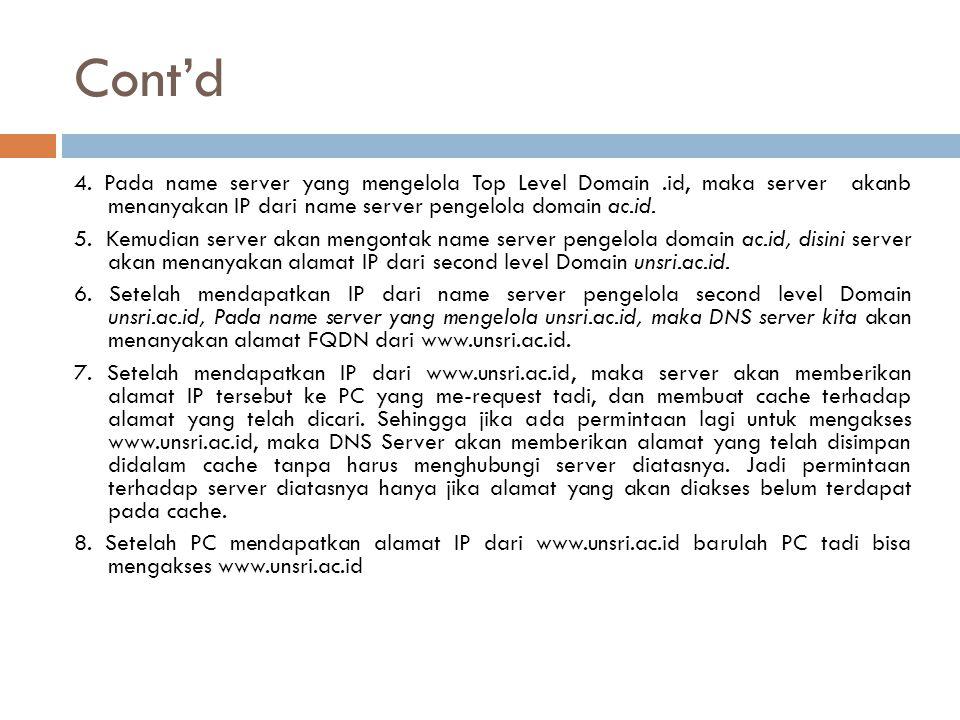 Cont'd 4. Pada name server yang mengelola Top Level Domain.id, maka server akanb menanyakan IP dari name server pengelola domain ac.id. 5. Kemudian se