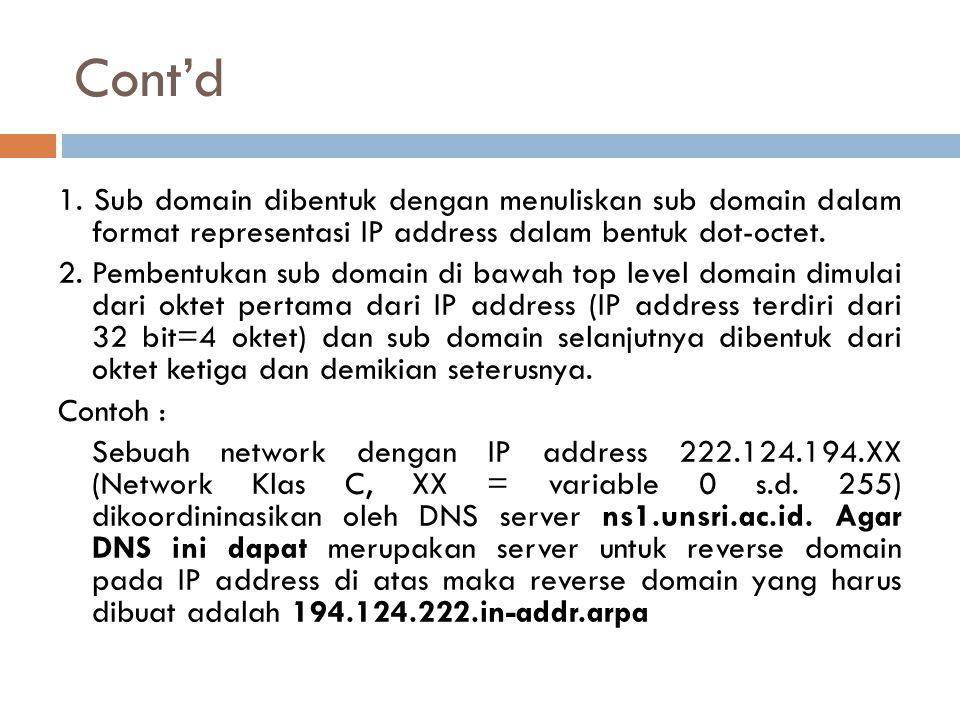 Cont'd 1. Sub domain dibentuk dengan menuliskan sub domain dalam format representasi IP address dalam bentuk dot-octet. 2. Pembentukan sub domain di b