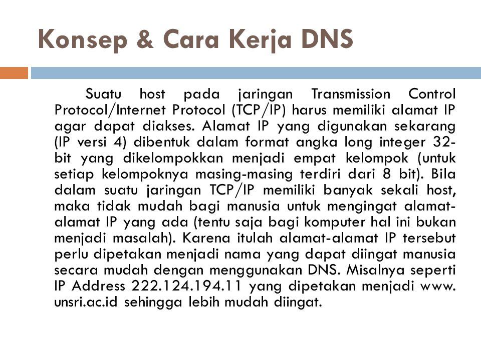 Cont'd Dalam teknologi internet sekarang ini, DNS pun merupakan jantung yang sangat berperan penting.