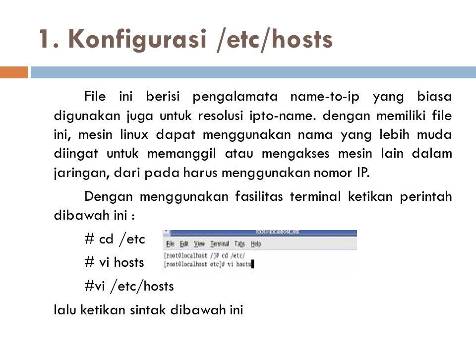 1. Konfigurasi /etc/hosts File ini berisi pengalamata name-to-ip yang biasa digunakan juga untuk resolusi ipto-name. dengan memiliki file ini, mesin l