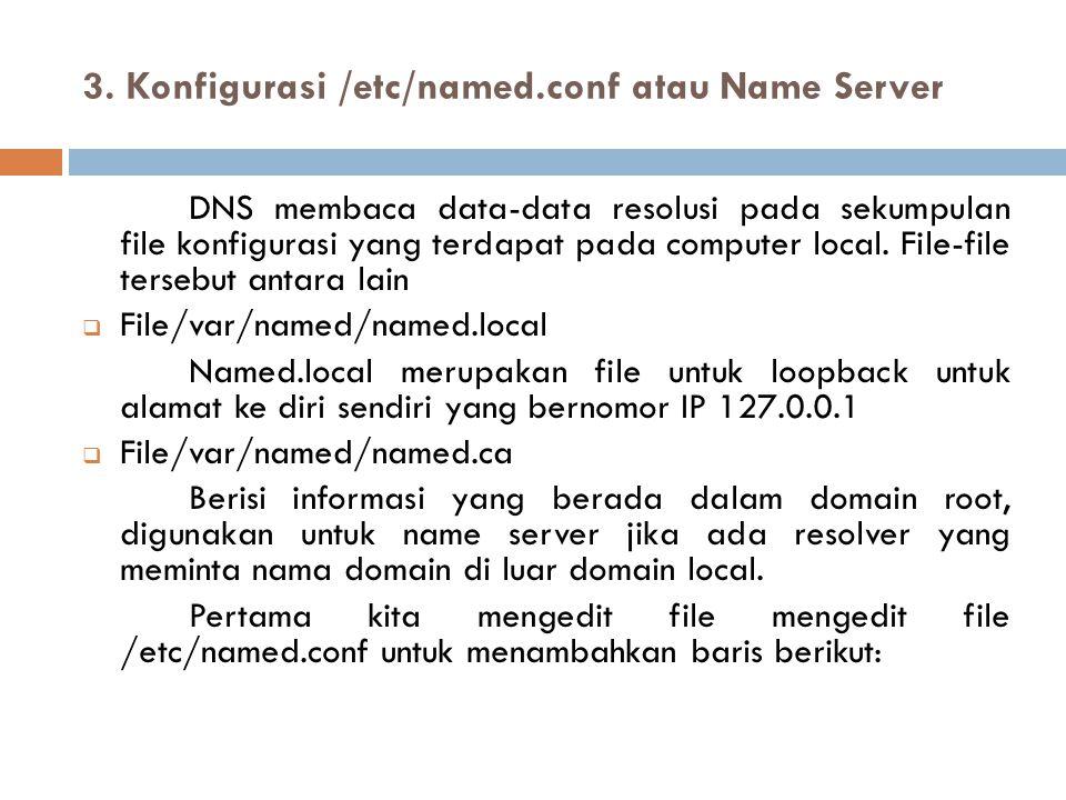 3. Konfigurasi /etc/named.conf atau Name Server DNS membaca data-data resolusi pada sekumpulan file konfigurasi yang terdapat pada computer local. Fil