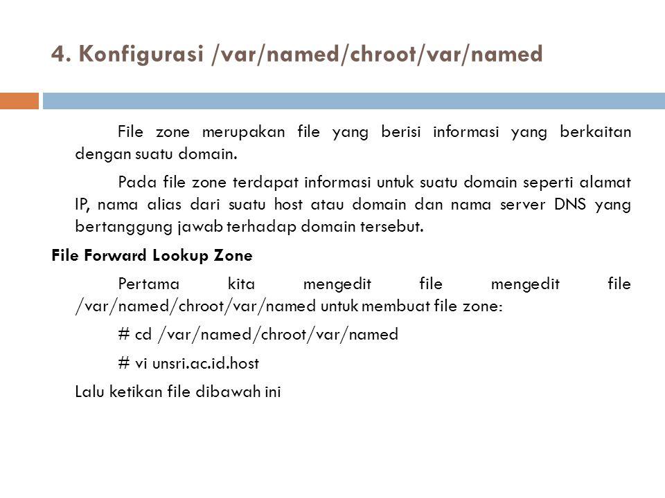 4. Konfigurasi /var/named/chroot/var/named File zone merupakan file yang berisi informasi yang berkaitan dengan suatu domain. Pada file zone terdapat