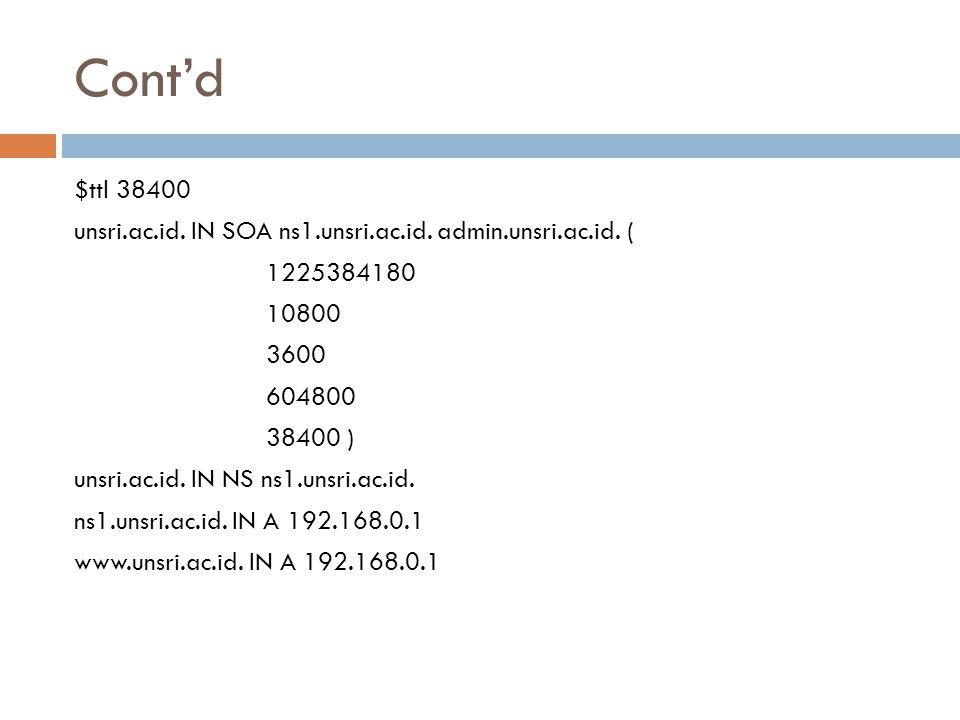 Cont'd $ttl 38400 unsri.ac.id. IN SOA ns1.unsri.ac.id. admin.unsri.ac.id. ( 1225384180 10800 3600 604800 38400 ) unsri.ac.id. IN NS ns1.unsri.ac.id. n