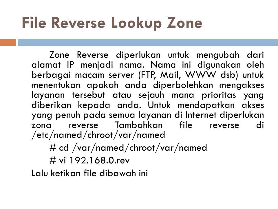 File Reverse Lookup Zone Zone Reverse diperlukan untuk mengubah dari alamat IP menjadi nama. Nama ini digunakan oleh berbagai macam server (FTP, Mail,