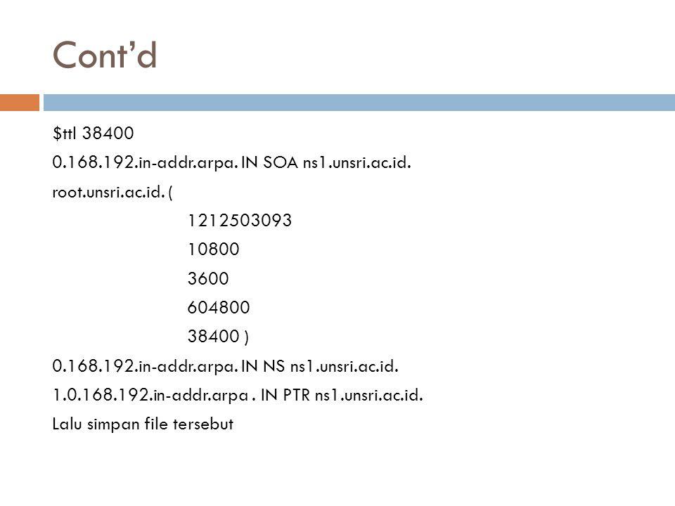 Cont'd $ttl 38400 0.168.192.in-addr.arpa. IN SOA ns1.unsri.ac.id. root.unsri.ac.id. ( 1212503093 10800 3600 604800 38400 ) 0.168.192.in-addr.arpa. IN