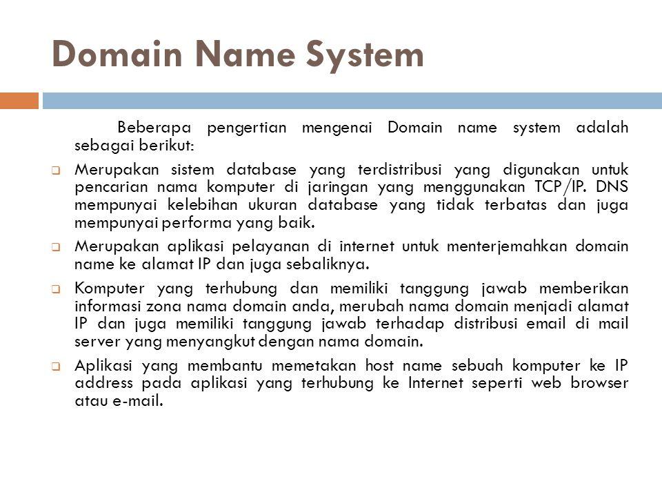 Cont'd DNS dapat dianalogikan sebagai pemakaian buku telefon dimana orang yang ingin kita hubungi, berdasarkan nama untuk menghubunginya dan menekan nomor telefon berdasarkan nomor dari buku telefon tersebut.
