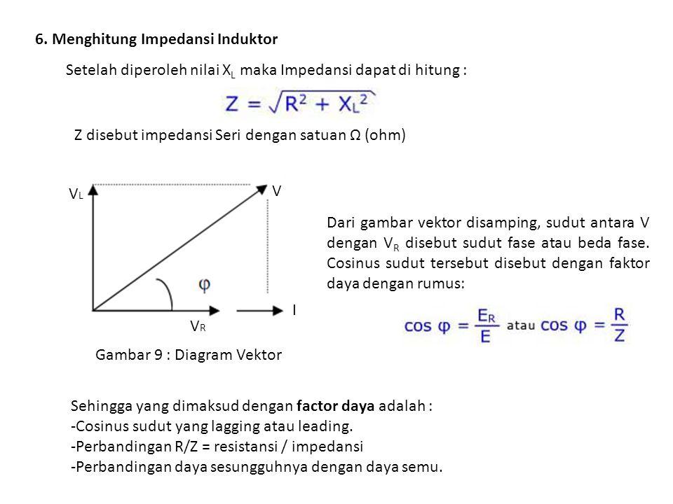 6. Menghitung Impedansi Induktor Setelah diperoleh nilai X L maka Impedansi dapat di hitung : Z disebut impedansi Seri dengan satuan Ω (ohm) VRVR VLVL