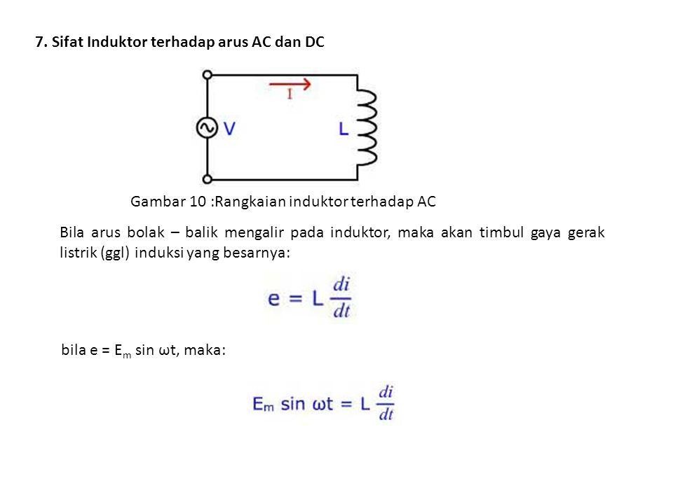 7. Sifat Induktor terhadap arus AC dan DC Gambar 10 :Rangkaian induktor terhadap AC Bila arus bolak – balik mengalir pada induktor, maka akan timbul g