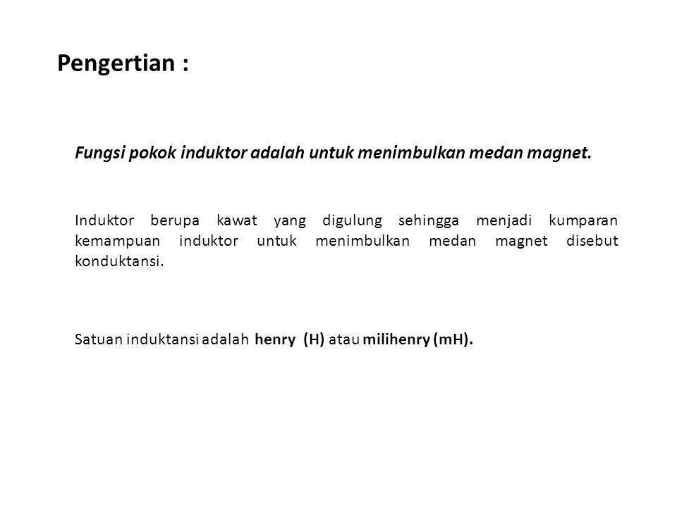 Pengertian : Fungsi pokok induktor adalah untuk menimbulkan medan magnet. Induktor berupa kawat yang digulung sehingga menjadi kumparan kemampuan indu