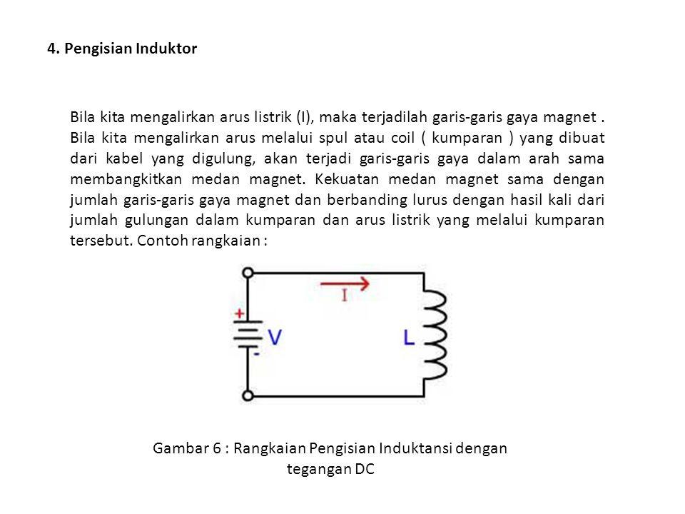 4. Pengisian Induktor Bila kita mengalirkan arus listrik (I), maka terjadilah garis-garis gaya magnet. Bila kita mengalirkan arus melalui spul atau co