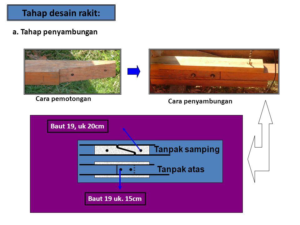 Tahap desain rakit: a. Tahap penyambungan Tanpak samping Tanpak atas Cara pemotongan Cara penyambungan Baut 19 uk. 15cm Baut 19, uk 20cm