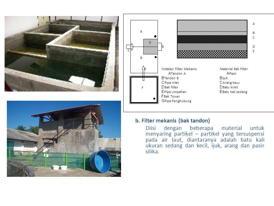 b. Filter mekanis (bak tandon) Diisi dengan beberapa material untuk menyaring partikel – partikel yang tersuspensi pada air laut, diantaranya adalah b