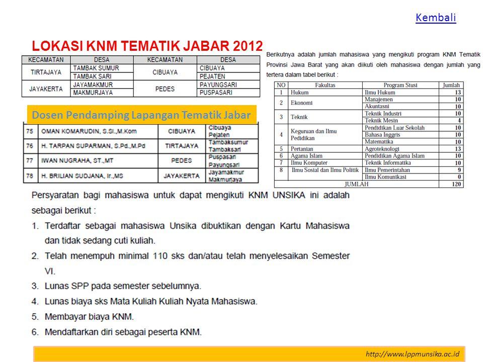 http://www.lppmunsika.ac.id LOKASI KNM TEMATIK JABAR 2012 Dosen Pendamping Lapangan Tematik Jabar Kembali