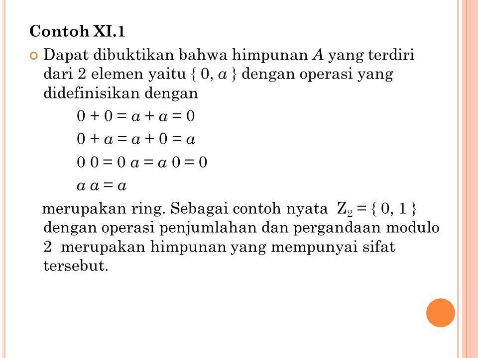 Contoh XI.1 Dapat dibuktikan bahwa himpunan A yang terdiri dari 2 elemen yaitu { 0, a } dengan operasi yang didefinisikan dengan 0 + 0 = a + a = 0 0 + a = a + 0 = a 0 0 = 0 a = a 0 = 0 a a = a merupakan ring.