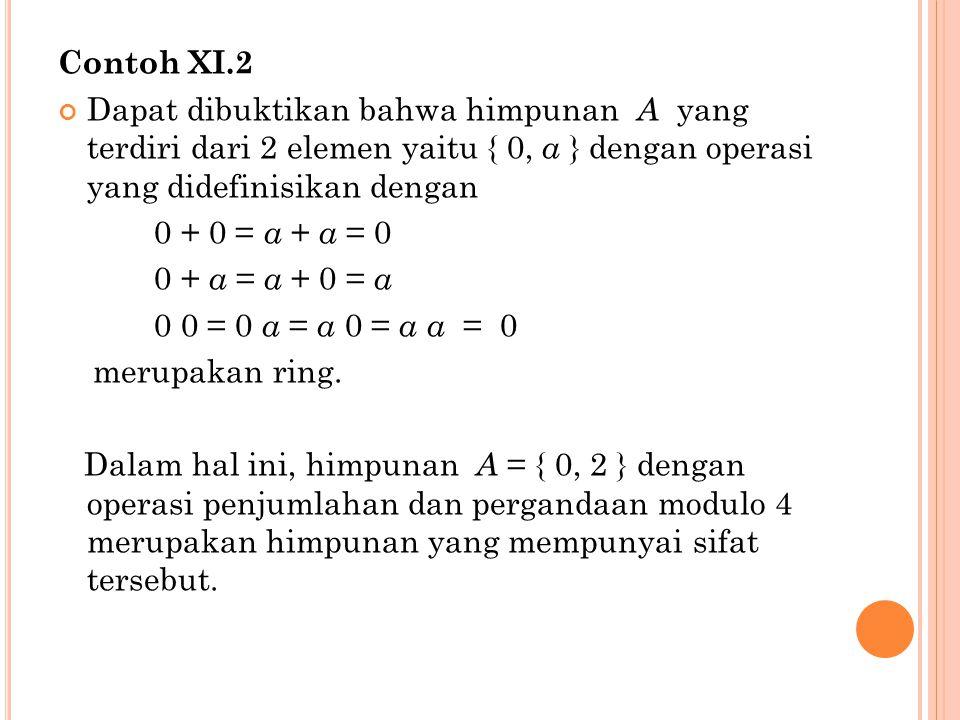 Contoh XI.3 Dapat dibuktikan dengan mudah bahwa himpunan bilangan bulat Z, himpunan bilangan real R, himpunan bilangan rasional Q dan himpunan bilangan kompleks C merupakan ring terhadap operasi penjumlahan dan perkalian aritmatika.