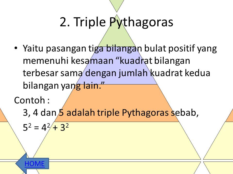 Contoh Soal • Tentukan jenis segitiga yang memiliki panjang sisi 5 cm, 7 cm dan 8 cm ? Jawab: dik : sisi terpanjang adalah 8 cm, maka a= 8cm, b = 7cm