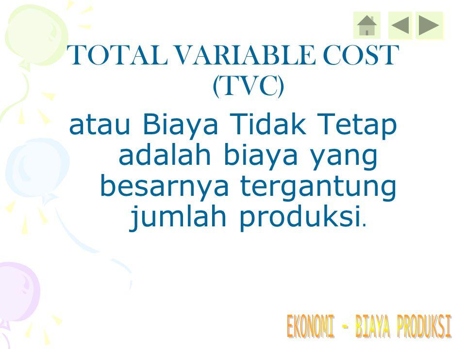 TOTAL FIXED COST atau Biaya Tetap adalah biaya yang besarnya tidak tergantung jumlah produksi.