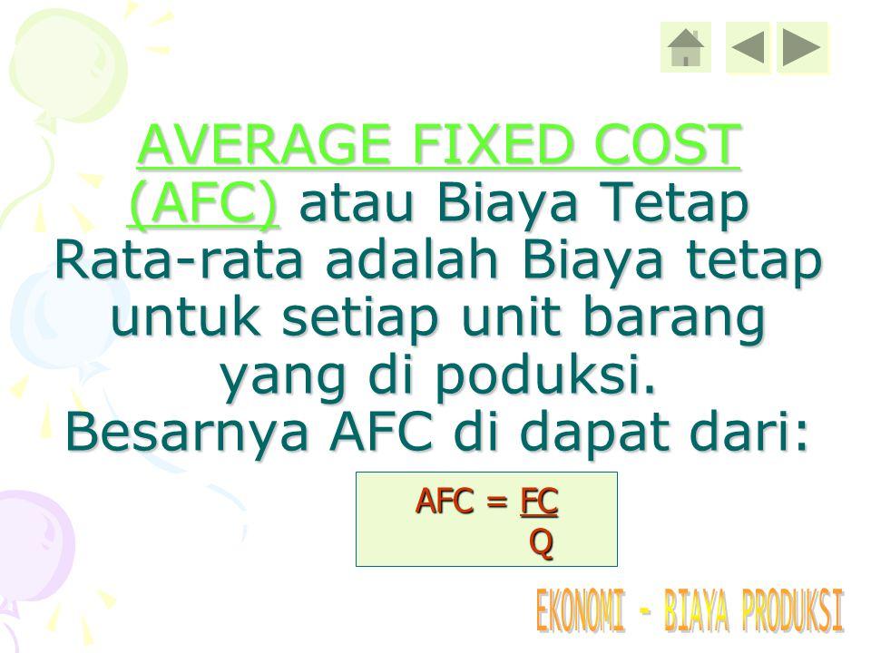 TOTAL COST (TC) atau Biaya Keseluruhan adalah seluruh biaya yang dikeluarkan untuk memproduksi sejumlah. Besarnya Total Cost didapat dari: TC = FC + V