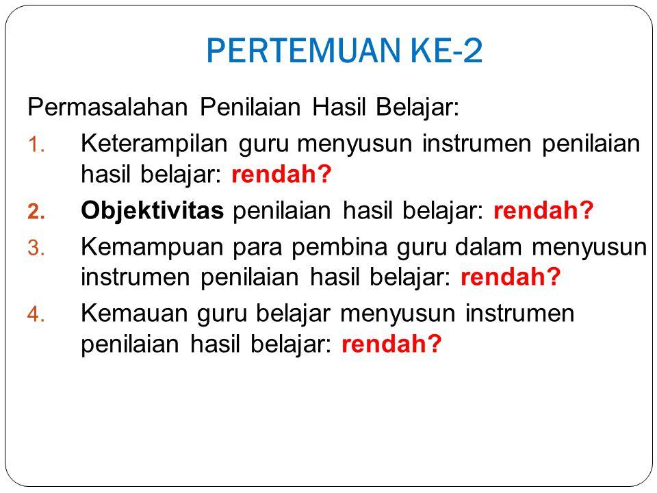 PERTEMUAN KE-2 Permasalahan Penilaian Hasil Belajar: 1.