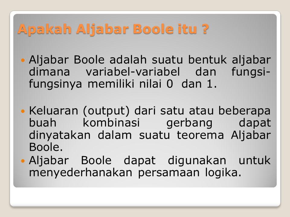 Apakah Aljabar Boole itu ?  Aljabar Boole adalah suatu bentuk aljabar dimana variabel-variabel dan fungsi- fungsinya memiliki nilai 0 dan 1.  Keluar