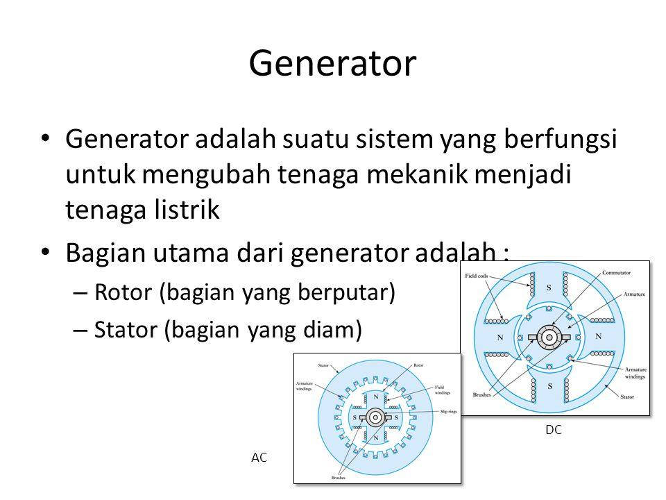 ROTOR dan STATOR • Rotor, mempunyai bagian-bagian yang terdiri dari : – poros, – inti, – kumparan, – cincin geser, dan – sikat-sikat.