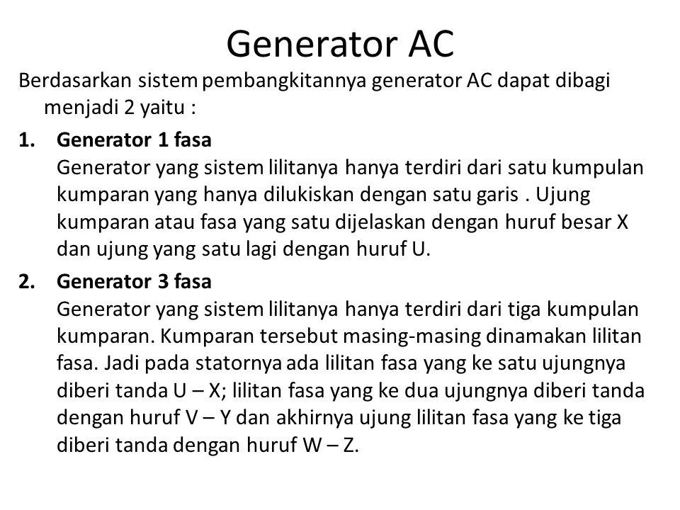 Generator AC • Kecepatan dan jumlah kutub derajat ac menentukan frekuensi tegangan yang dibangkitkan.