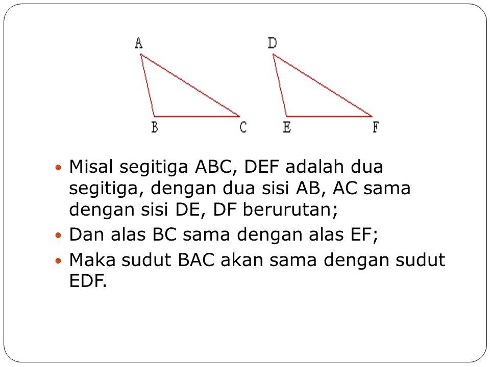  Misal segitiga ABC, DEF adalah dua segitiga, dengan dua sisi AB, AC sama dengan sisi DE, DF berurutan;  Dan alas BC sama dengan alas EF;  Maka sud