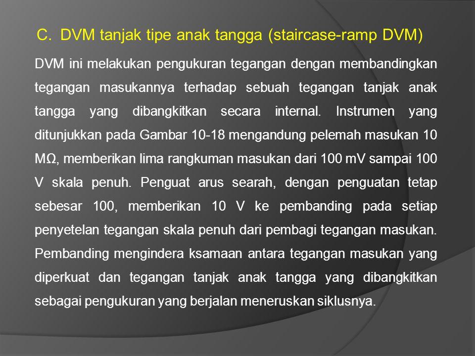 C.DVM tanjak tipe anak tangga (staircase-ramp DVM) DVM ini melakukan pengukuran tegangan dengan membandingkan tegangan masukannya terhadap sebuah tega