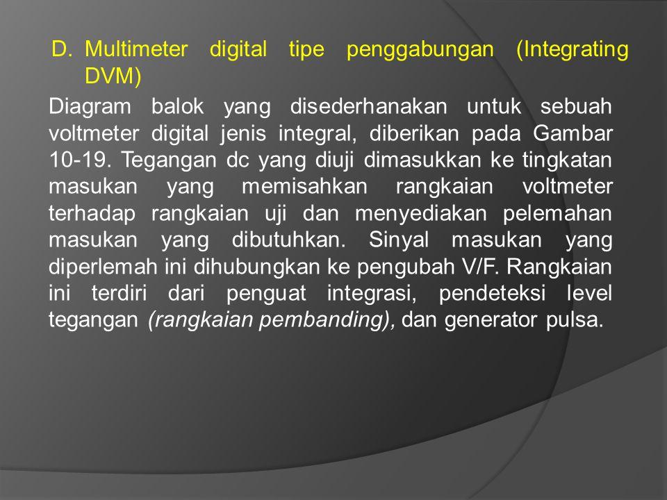 D.Multimeter digital tipe penggabungan (Integrating DVM) Diagram balok yang disederhanakan untuk sebuah voltmeter digital jenis integral, diberikan pa