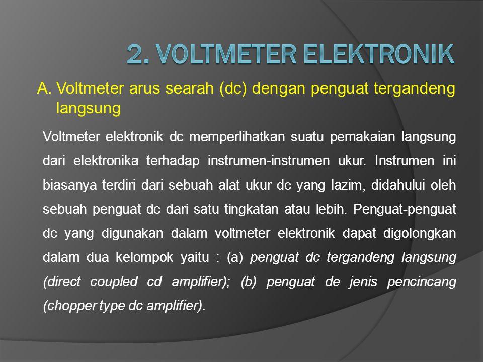 A.Voltmeter arus searah (dc) dengan penguat tergandeng langsung Voltmeter elektronik dc memperlihatkan suatu pemakaian langsung dari elektronika terha