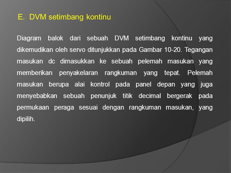 E.DVM setimbang kontinu Diagram balok dari sebuah DVM setimbang kontinu yang dikemudikan oleh servo ditunjukkan pada Gambar 10-20. Tegangan masukan dc