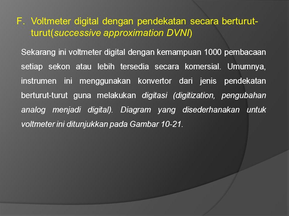 F.Voltmeter digital dengan pendekatan secara berturut- turut(successive approximation DVNI) Sekarang ini voltmeter digital dengan kemampuan 1000 pemba