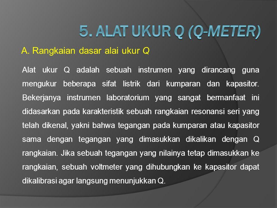 A.Rangkaian dasar alai ukur Q Alat ukur Q adalah sebuah instrumen yang dirancang guna mengukur beberapa sifat listrik dari kumparan dan kapasitor. Bek