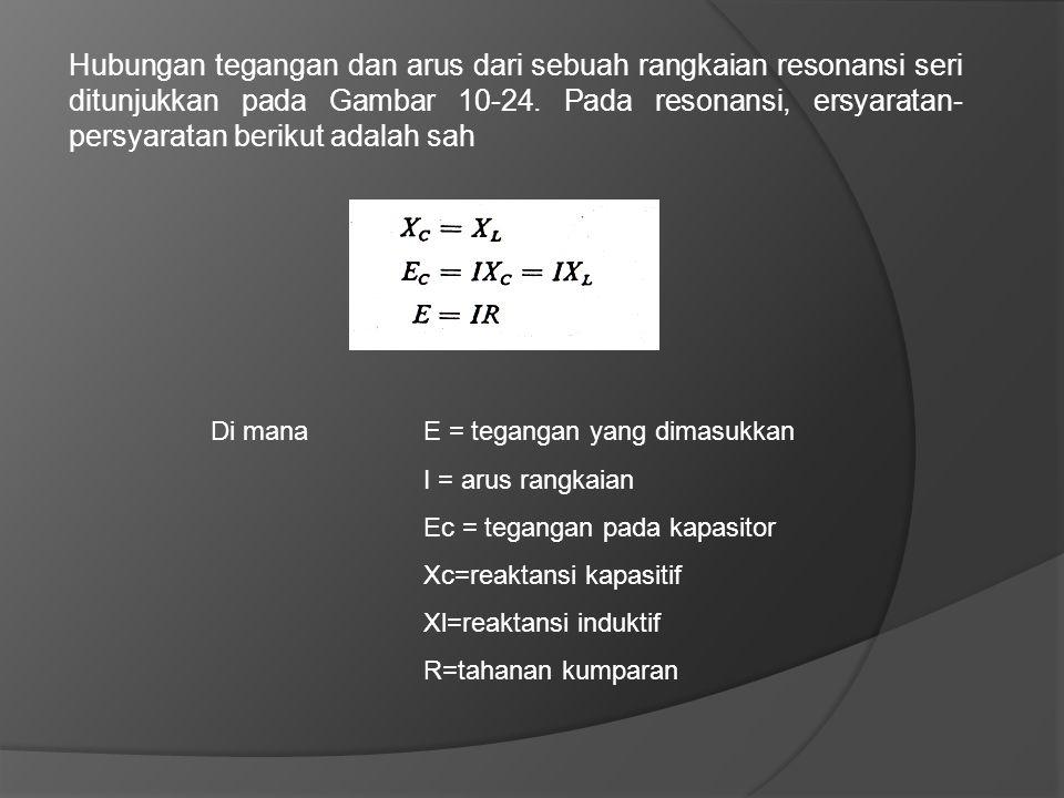 Hubungan tegangan dan arus dari sebuah rangkaian resonansi seri ditunjukkan pada Gambar 10-24. Pada resonansi, ersyaratan- persyaratan berikut adalah
