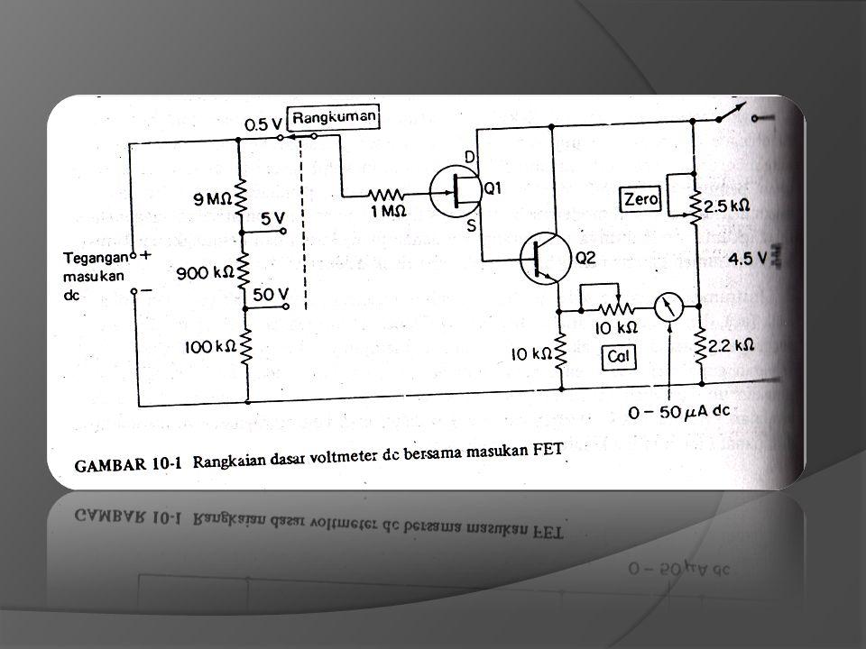 A.Rangkaian dasar Salah satu instrumen bengkel untuk pemakaian umum yang paling terandalkan yang mampu untuk mengukur tegangan dc dan ac seperti halnya arus dan tahanan adalah multimeter semikonduktor atau VOM.