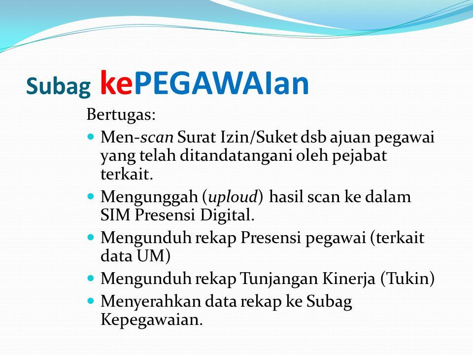 Bertugas:  Men-scan Surat Izin/Suket dsb ajuan pegawai yang telah ditandatangani oleh pejabat terkait.  Mengunggah (uploud) hasil scan ke dalam SIM