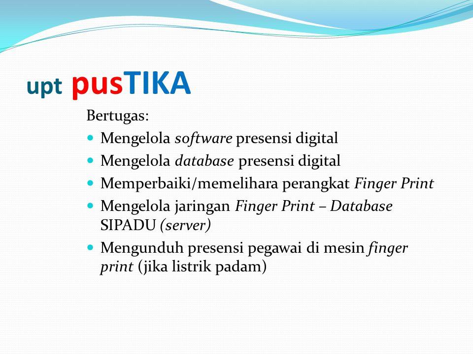 Bertugas:  Mengelola software presensi digital  Mengelola database presensi digital  Memperbaiki/memelihara perangkat Finger Print  Mengelola jari