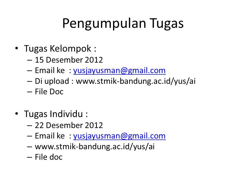 Pengumpulan Tugas • Tugas Kelompok : – 15 Desember 2012 – Email ke : yusjayusman@gmail.comyusjayusman@gmail.com – Di upload : www.stmik-bandung.ac.id/yus/ai – File Doc • Tugas Individu : – 22 Desember 2012 – Email ke : yusjayusman@gmail.comyusjayusman@gmail.com – www.stmik-bandung.ac.id/yus/ai – File doc