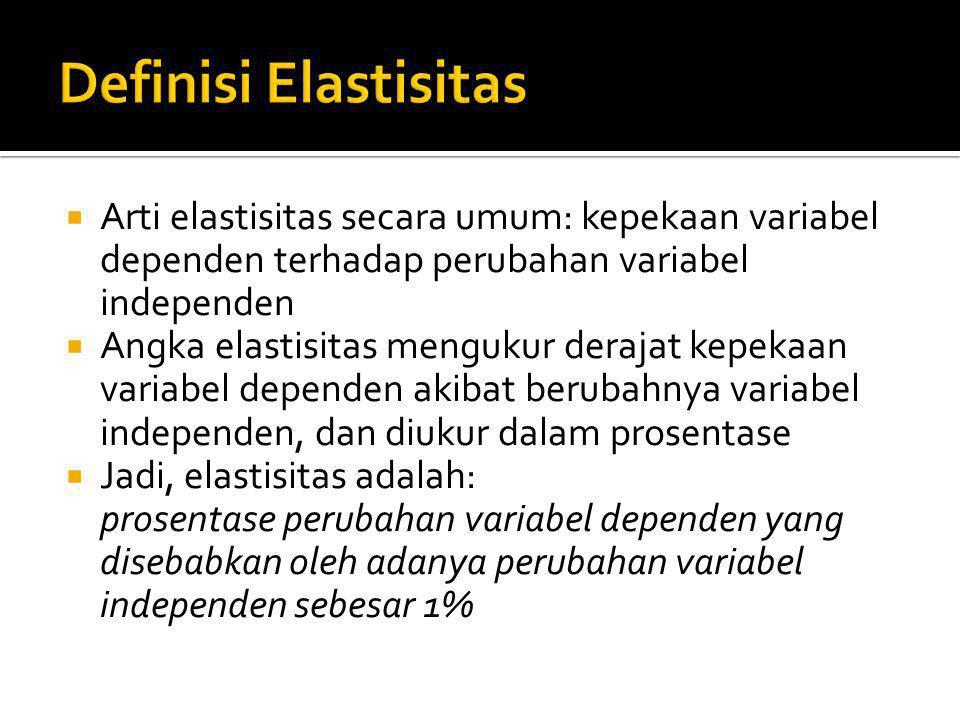  Elastisitas: % perubahan variabel dependen % perubahan variabel independen ε: % ∆ D V % ∆ I V ε:angka (koefisien) elastisitas DV: variabel dependen IV: variabel independen ∆: merupakan notasi untuk menyatakan perubahan