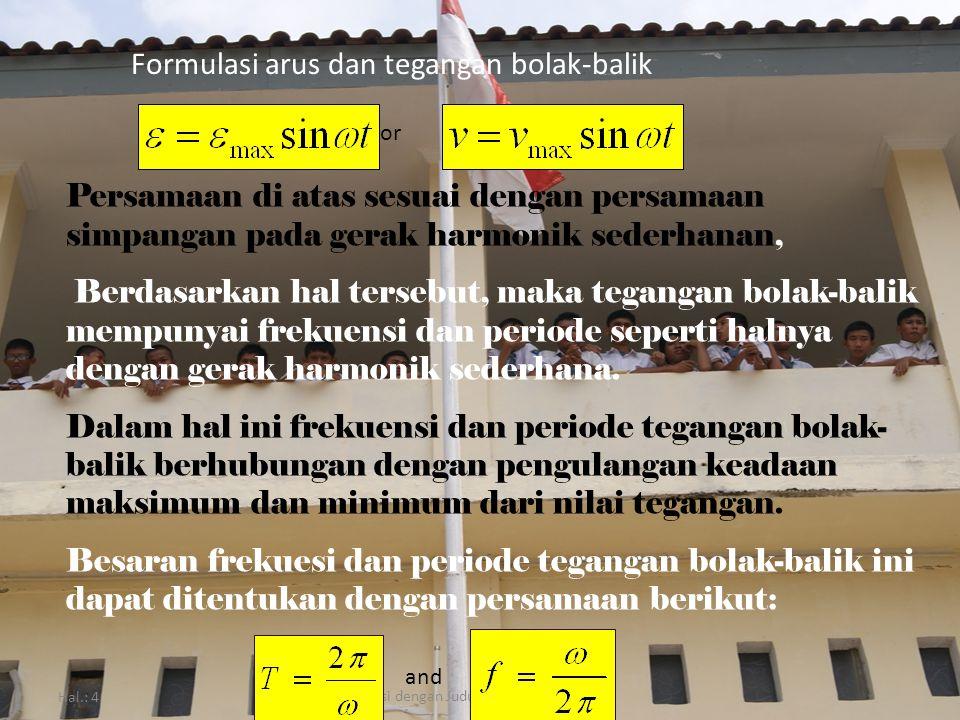 Hal.: 4 Isi dengan Judul Halaman Terkait Formulasi arus dan tegangan bolak-balik Persamaan di atas sesuai dengan persamaan simpangan pada gerak harmon