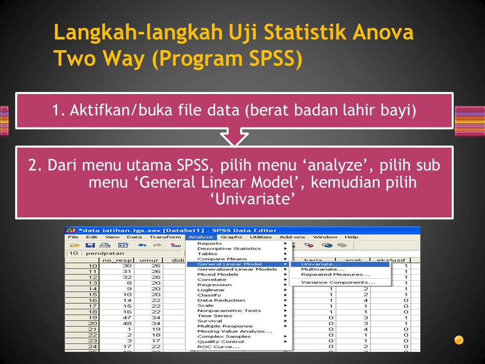 Langkah-langkah Uji Statistik Anova Two Way (Program SPSS) 2. Dari menu utama SPSS, pilih menu 'analyze', pilih sub menu 'General Linear Model', kemud