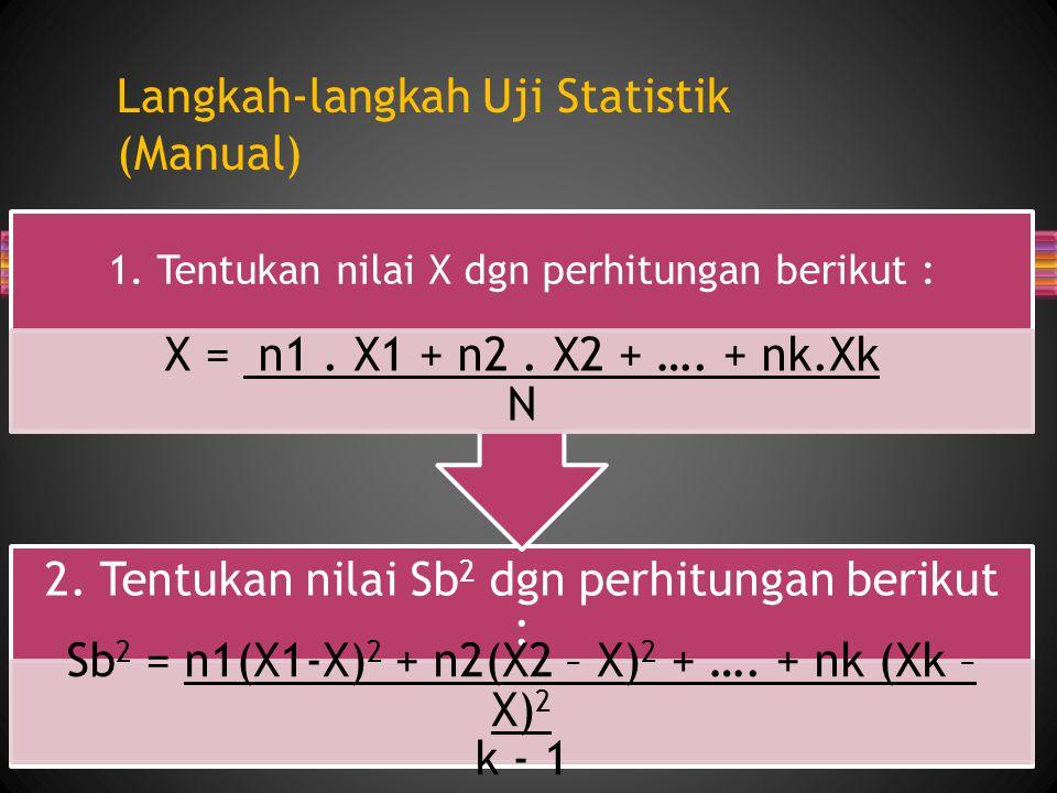Langkah-langkah Uji Statistik (Manual) 2. Tentukan nilai Sb 2 dgn perhitungan berikut : Sb 2 = n1(X1-X) 2 + n2(X2 – X) 2 + …. + nk (Xk – X) 2 k - 1 1.