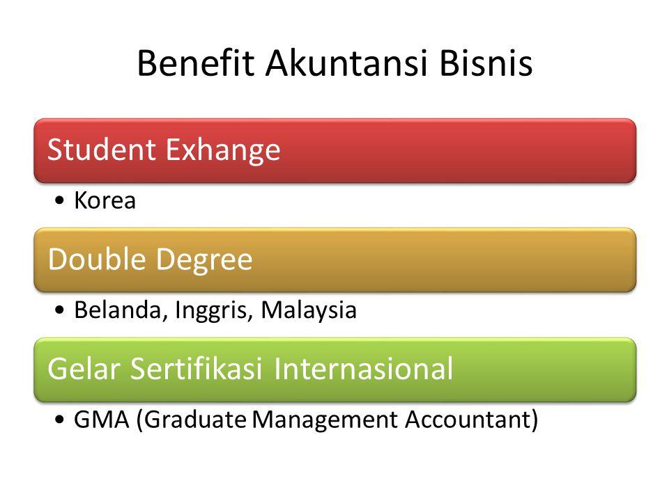 Benefit Akuntansi Bisnis Student Exhange •Korea Double Degree •Belanda, Inggris, Malaysia Gelar Sertifikasi Internasional •GMA (Graduate Management Ac