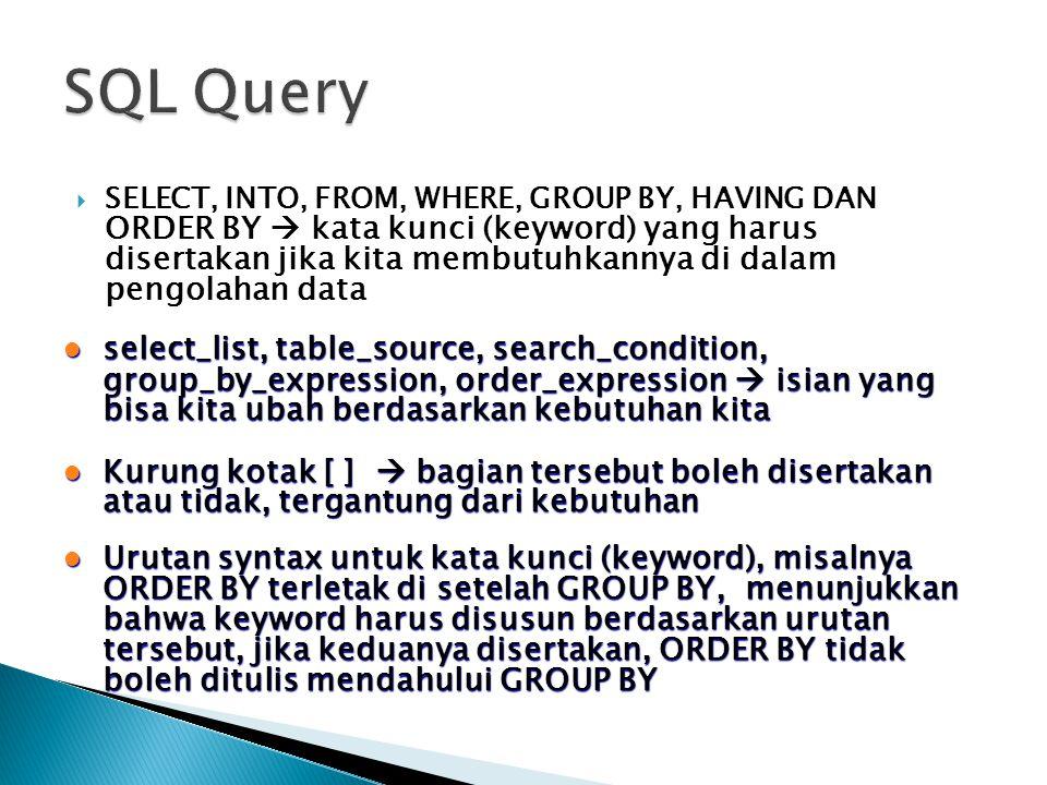  SELECT, INTO, FROM, WHERE, GROUP BY, HAVING DAN ORDER BY  kata kunci (keyword) yang harus disertakan jika kita membutuhkannya di dalam pengolahan d