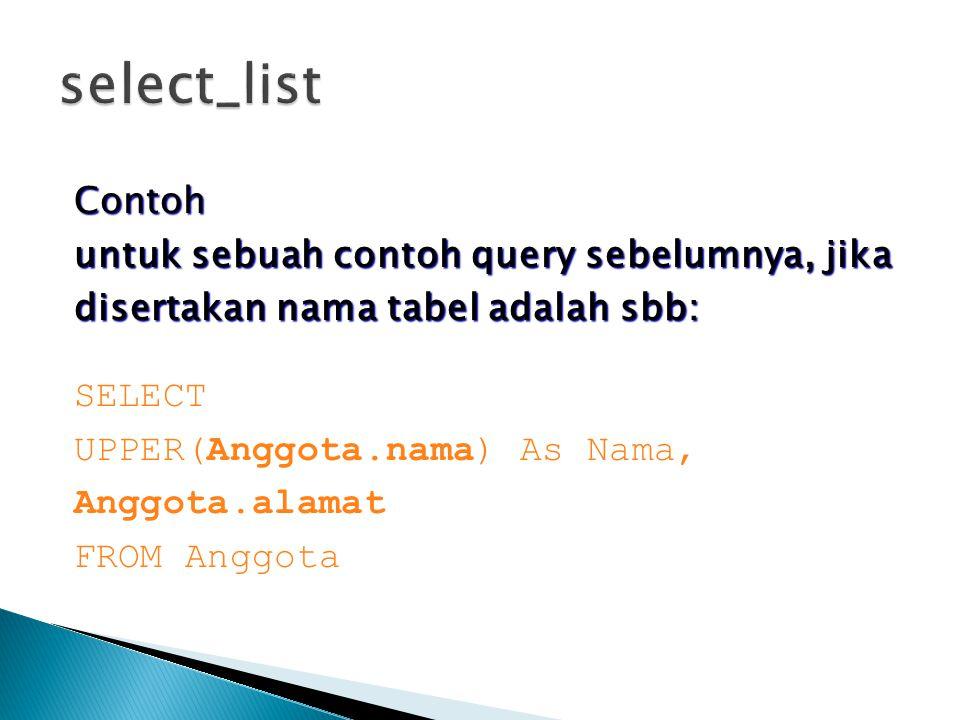 Contoh untuk sebuah contoh query sebelumnya, jika disertakan nama tabel adalah sbb: SELECT UPPER(Anggota.nama) As Nama, Anggota.alamat FROM Anggota