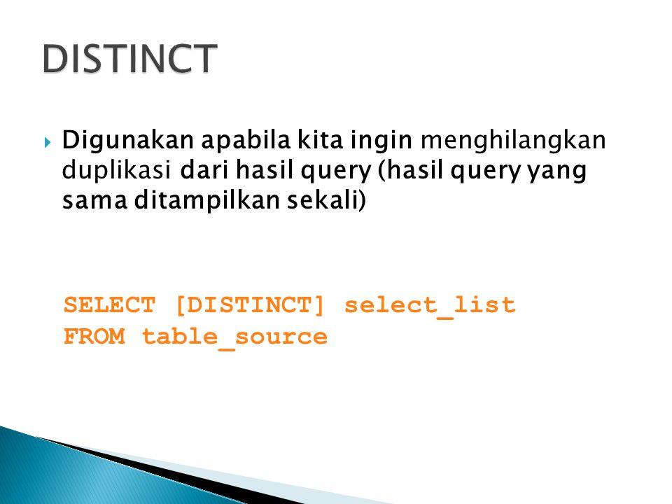  Digunakan apabila kita ingin menghilangkan duplikasi dari hasil query (hasil query yang sama ditampilkan sekali) SELECT [DISTINCT] select_list FROM