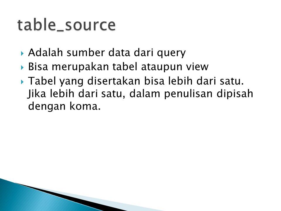  Adalah sumber data dari query  Bisa merupakan tabel ataupun view  Tabel yang disertakan bisa lebih dari satu. Jika lebih dari satu, dalam penulisa