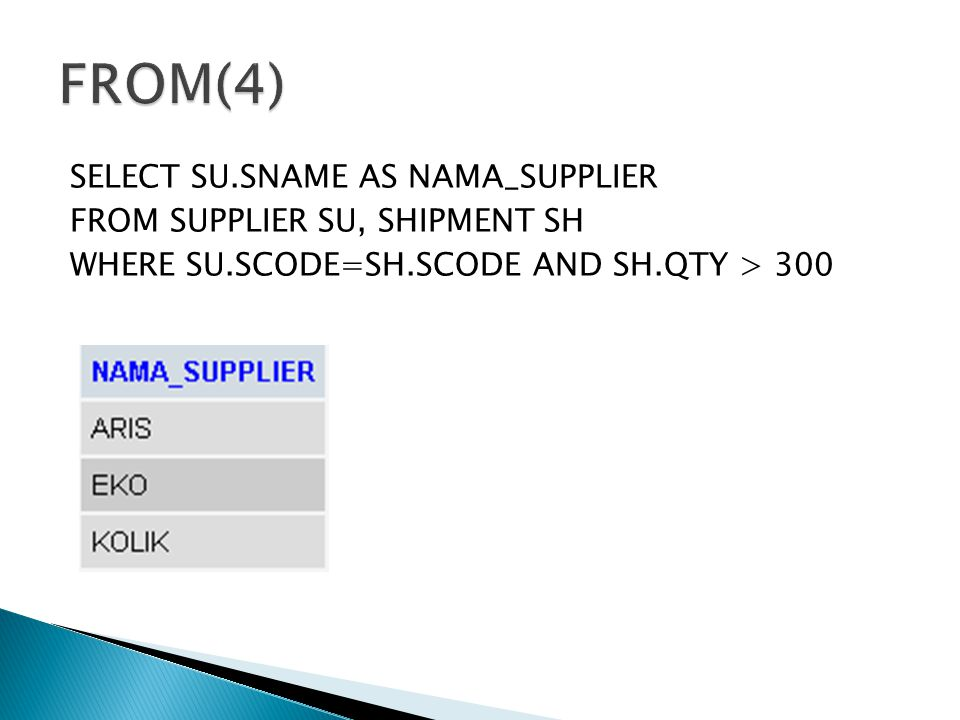 SELECT SU.SNAME AS NAMA_SUPPLIER FROM SUPPLIER SU, SHIPMENT SH WHERE SU.SCODE=SH.SCODE AND SH.QTY > 300