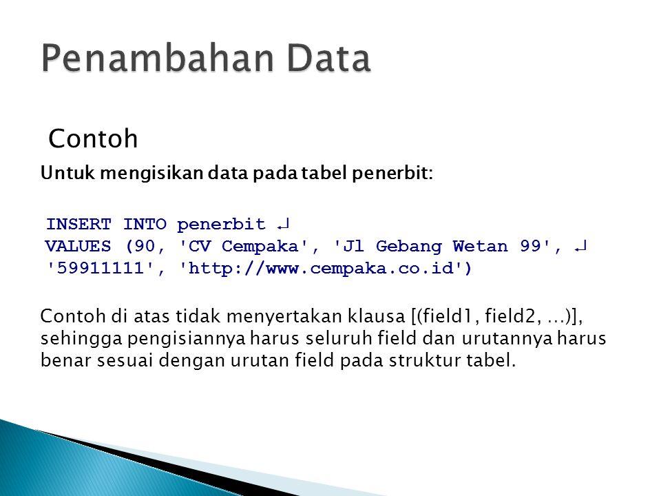 Contoh Untuk mengisikan data pada tabel penerbit: INSERT INTO penerbit  VALUES (90, 'CV Cempaka', 'Jl Gebang Wetan 99',  '59911111', 'http://www.cem